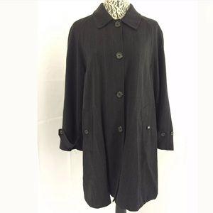 RALPH LAUREN Grey Pin Stripped Wool Trench Coat 8